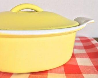 Descoware Dutch Oven-One Pot Meals-Enameled Cast Iron 1/2 Quart Yellow