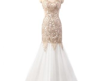 Handmade Bridal Dress Beautiful Open Back Wedding Gowns Tulle Prom Dress Gold Lace Wedding Dresses Mermaid White Wedding Dress