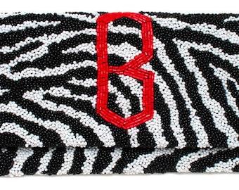 Custom Monogram Beaded Zebra Clutch Handbag Purse Evening Bag