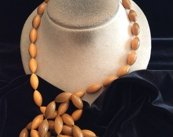 Vintage Long Shades Of Brown Beaded Necklace
