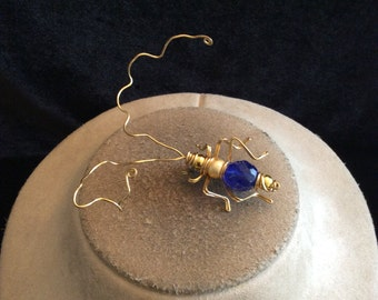 Vintage Large Signed Raf Blue Glass Beaded Bug Pin