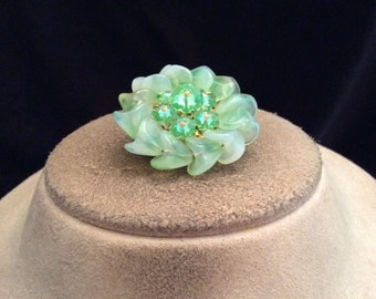 Vintage Shades Of Green Glass & Rhinestone Floral Pin