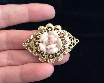 Vintage Goldtone & Pink Ceramic Rose Pin