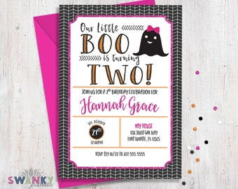 Girl Halloween Birthday Invitation, Ghost Birthday Invitation, Costume Birthday, Boo is Two, Second Birthday Invitations, Girl Halloween