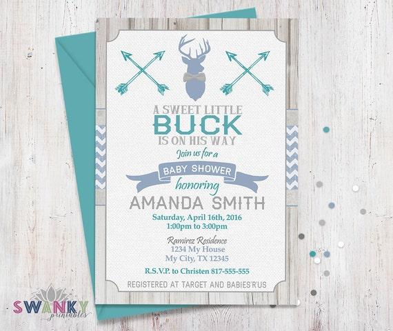Deer Baby Shower Invitations Burlap Baby Shower Invites Gray