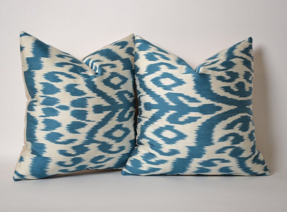 15x15 Throw Pillow Cover : SET OF 2 Blue Ikat Pillow Cover 15x15 Ikat Throw Pillow