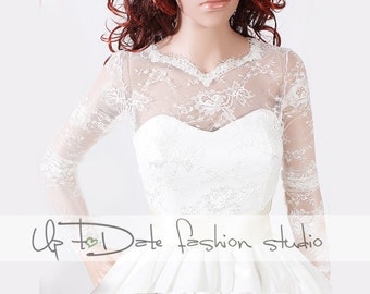 Wedding lace bolero  wedding jacket/ shrug/bridal lace top  deep-v in back/cover up