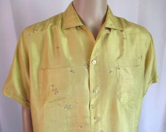 1950s Tight-Rope Walker Print Gold Silk Button-Down Shirt Men's Sz. L