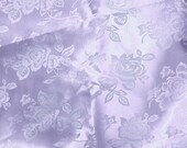 Satin Jacquard Roses Lilac Fabric - Sold By The Yard