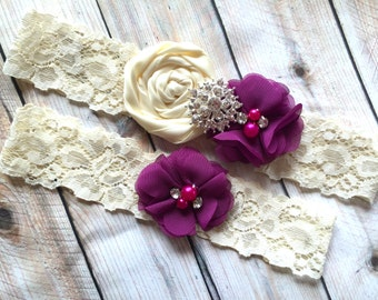 Bridal Garter Plum, Wedding Garter Plum, Keepsake garter, Purple Wedding Garter, Lace Wedding Garter, Purple Garter Set, Plum Garter