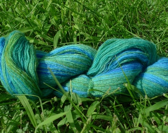 Handspun yarn: Merino wool and silk