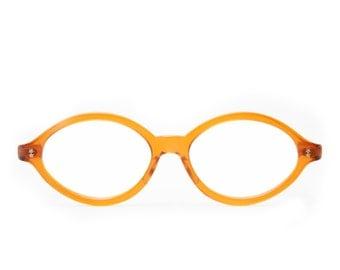 Bright Citrus Orange Crystal  Oval Shaped  Vintage 1970's Eyeglasses