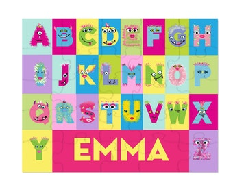 Monster Girl Alphabet Puzzle, Monster Birthday Party Favor, Personalized Puzzle, Custom Puzzle for Kids, Monster Party Gift for Girls