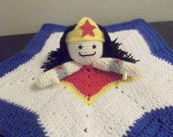 Wonder Woman Star Snuggle Buddy Baby Security Blanket