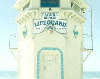 "California Beach Photo, Laguna Beach Print, Lifeguard Stand, Aqua Landscape, Ocean Art, California Summer Vacation Print- ""Laguna Lifeguard"""
