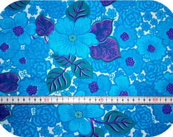 Floral retro vintage fabric NOS / New Old Stock - turquoise, blue, purple and white