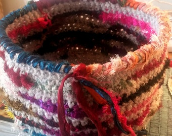 Handmade Gray Wool Crochet Basket With Multi-Colored Recycled Silk Sari Fabric Stripes, Woven Border and Fringe Detail