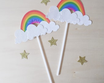 Set of 10 - Over The Rainbow Cupcake Toppers