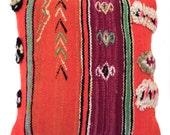 Magenta & Orange Vintage Moroccan Pillow
