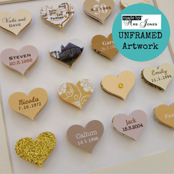 Wedding Gift 16 Years : Anniversary Gift - 16 small hearts - Golden Wedding artwork - 50 years ...