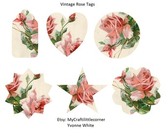 Vintage Rose Tags Digital Prints  *** INSTAND DOWNLOAD