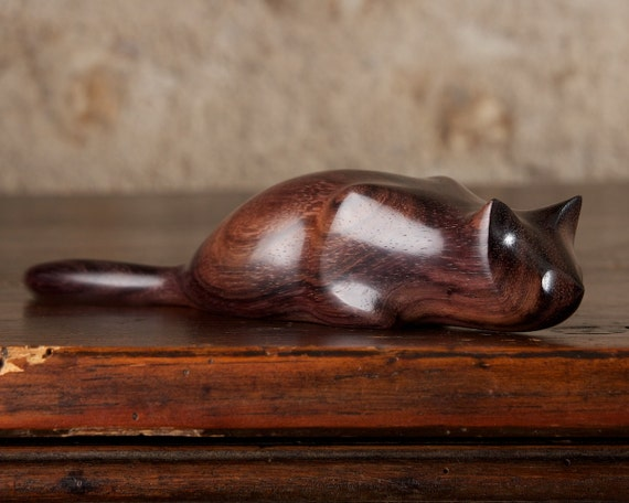 Wooden 'Pouncer' Cat carved from Sonokeling Rosewood by Perry Lancaster, Wooden Crouched Cat Sculpture Figurine