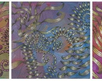 Trio of Ferns Art print, fern trio of prints in blue, green and purples
