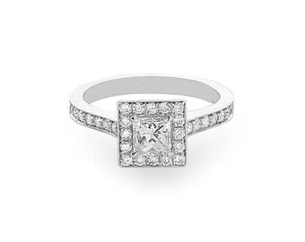 14K White Gold Princess Diamond Halo Engagement Ring