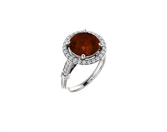 14k solid white gold diamond and garnet halo ring, engagement ring, promise ring, cocktail ring.