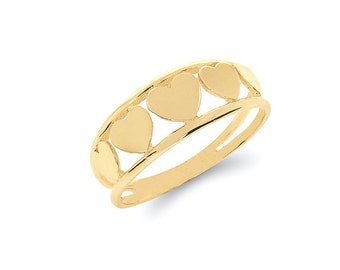 14k solid gold hearts ring. heart jewelry. love ring.
