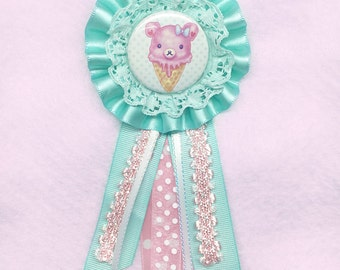 Pink Bearcone Rosette Badge