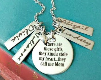 Mother Daughter Engraved Personalized Mom Necklace - 4 Girls, There are These Girls