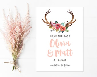 Save The Date, Antlers with Flowers, Rustic Boho Wedding