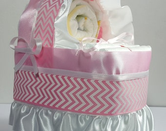 Pink and White Chevron - Diaper Bassinet Baby Shower Gift Table Decoration Centerpiece