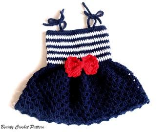 Crochet Pattern Baby Sailor Dress, Baby Sailor Outfit, Baby Dress Pattern, Toddler Dress, Crochet Dress Patterns for Girls, Pdf Dress