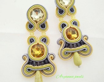 soutache earring with crystal