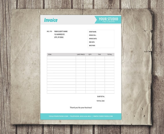 Branded Invoice Sheet Template