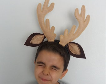 Cream or Brown Felted Reindeer horn-Deer Ears with horn-Reindeer headband-Halloween Costume-Deer Antler Headband-adult size costume