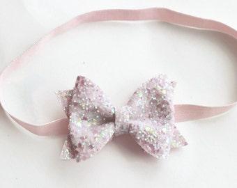 glitter bow - pink headband - sparkle headband - glitter headband - headband baby - baby girl headband - sparkly headband - READY TO SHIP