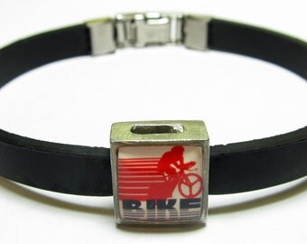 Sport Bike Link With Choice Of Colored Band Charm Bracelet