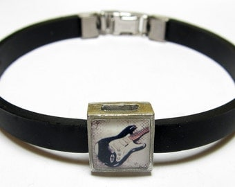 Electric Guitar Music Link With Choice Of Colored Band Charm Bracelet