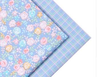 blue flowers set x2  fabric fq