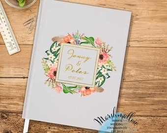 Personalize Guest Book Gray Wedding Guest Book, Gift for Bride Wedding Gift Keepsake Wedding Guestbook Faux Gold Guestbook Wedding Journal