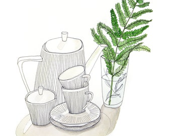 """Print of a drawing """"coffee pot with cups and fern"""", DIN A4"""