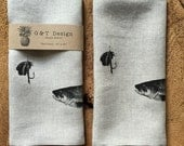 Fish and Lure Tea Towel Screen Printed onto 100% Natural Linen, Father's Day, Hostess Gift