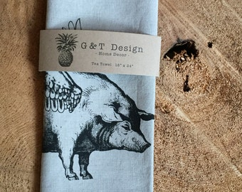 When Pigs Fly Screen Printed 100% Linen Tea Towel, Eco Cloth Kitchen Towel,
