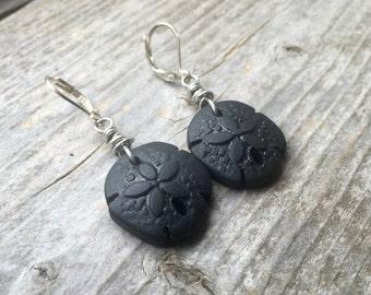 Black Recycled Glass Sand Dollar Earrings