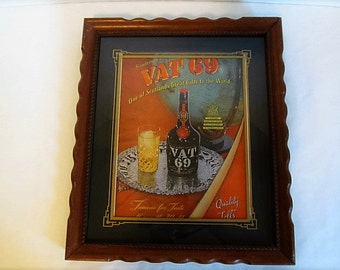 Vintage  Framed Advertising Bar Decor Accessories Sign Vat 69 Whiskey Scotch Whisky Wall Art Decor Alcohol Ads Gifts For Men