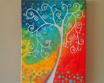 Original Tree of Life Wall Art, Abstract Tree painting, Whimsical Tree Art, tree of life painting, canvas painting,wedding gift 11x14