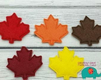 Red maple leaf fall autumn set of 4 UNCUT wholesale felties, felt embellishment, hair bow centers, hair accessories, scrapbook supplies